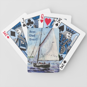 Sailing Along Fine Art Sailboats Watercolor Bicycle Playing Cards