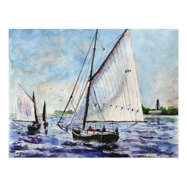 Sailing Along Fine Art Sailboats Watercolor Post Cards