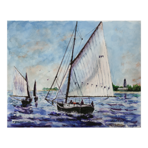 Sailing Along Fine Art Sailboats Watercolor Poster