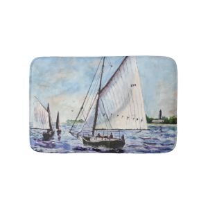 Sailing Along Fine Art Sailboats Watercolor Bath Mats