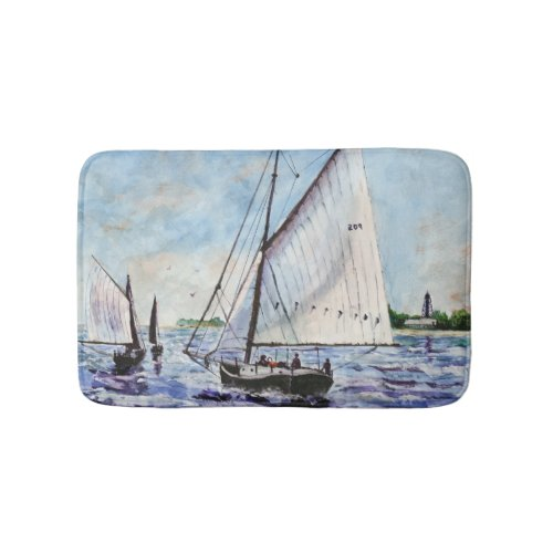 Sailing Along Fine Art Sailboats Watercolor Bath Mats