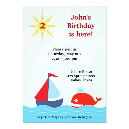 Birthday Party Yacht: Sailing Boat Birthday Party Flat Invitation