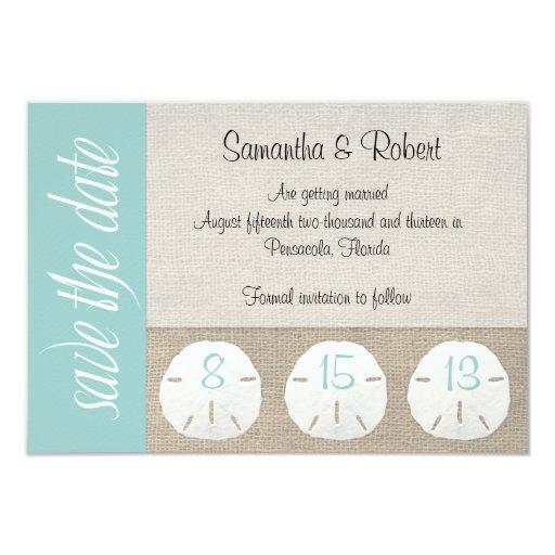 Beach Theme Card Stock: Sand Dollar Beach Wedding Save The Date 3.5x5 Paper