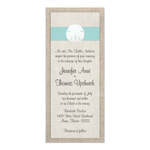 Sand Dollar & Burlap Beach Wedding Invitation