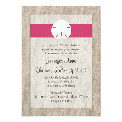 Sand Dollar Look Beach Wedding Invitation