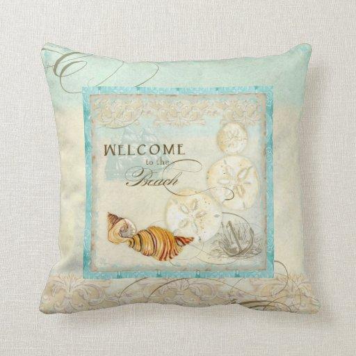 Beach Home Decor Pillows: Sand Dollar Shell Coastal Beach Home Decor Pillow