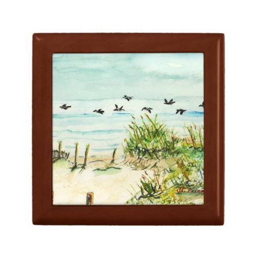 Sand Dunes and Seagulls Outer Banks North Carolina Keepsake Box