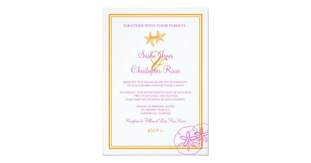 Fuschia And Orange Wedding Invitations: Sand+Sea/orange+fuschia/ Wedding Invitations