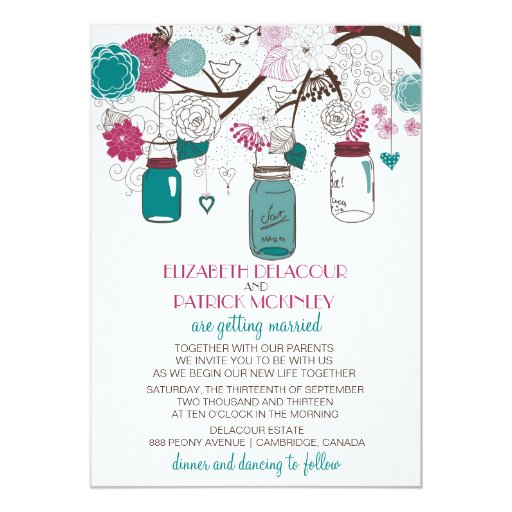 Sangria Wedding Invitations: Sangria And Teal Mason Jars Wedding Invitation