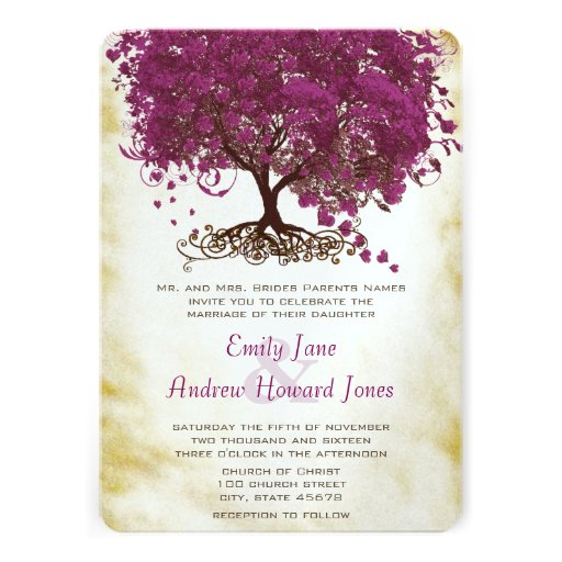 "Sangria Wedding Invitations: Sangria Heart Leaf Tree Wedding Invites 5"" X 7"" Invitation"