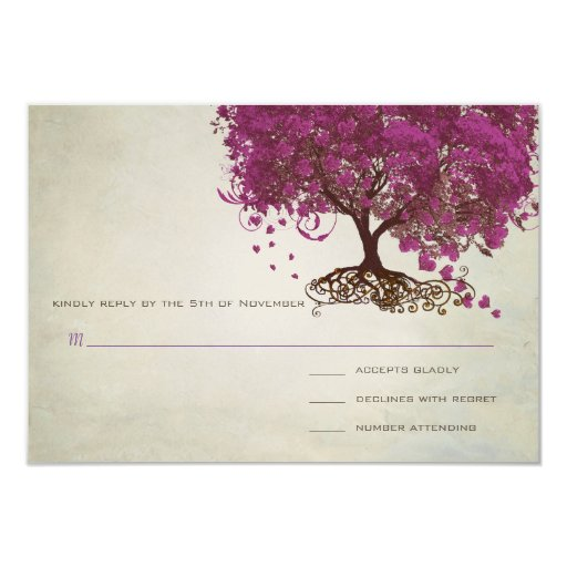 Sangria Wedding Invitations: Sangria Heart Leaf Tree Wedding Invites