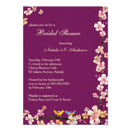 "Sangria Wedding Invitations: Sangria Love Birds Floral Bridal Shower Invitation 5"" X 7"