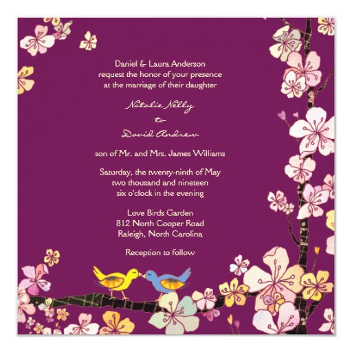Sangria Wedding Invitations: Sangria Love Birds Romantic Floral Wedding Invites 5.25
