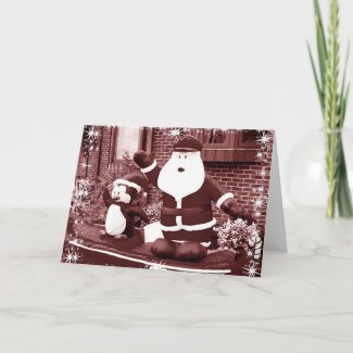 Santa and Penguin Friend Waving card