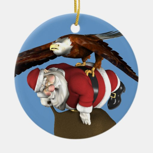 Santa Claus Caught By Bald Eagle Double-Sided Ceramic ...