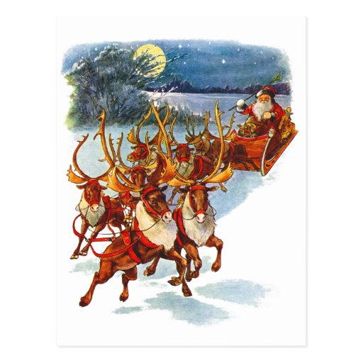 Santa Claus Flying With His Reindeer Guided Sleigh ...