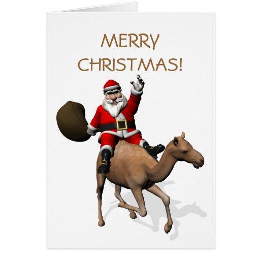 Santa Claus Riding A Camel Greeting Card