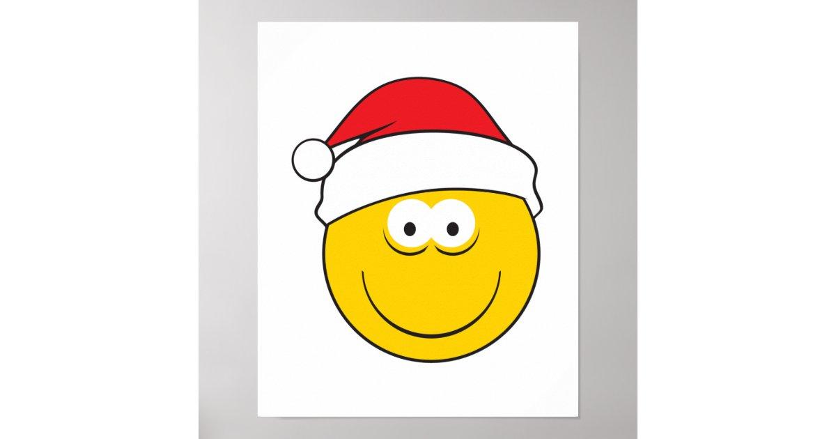Santa Hat Smiley Face Poster