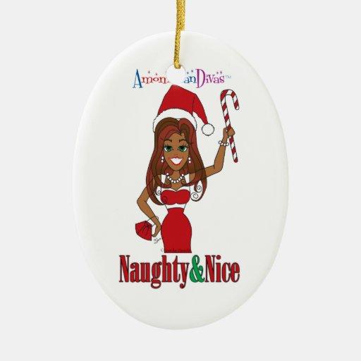 Santa Naughty & Nice Diva Double-Sided Oval Ceramic ...