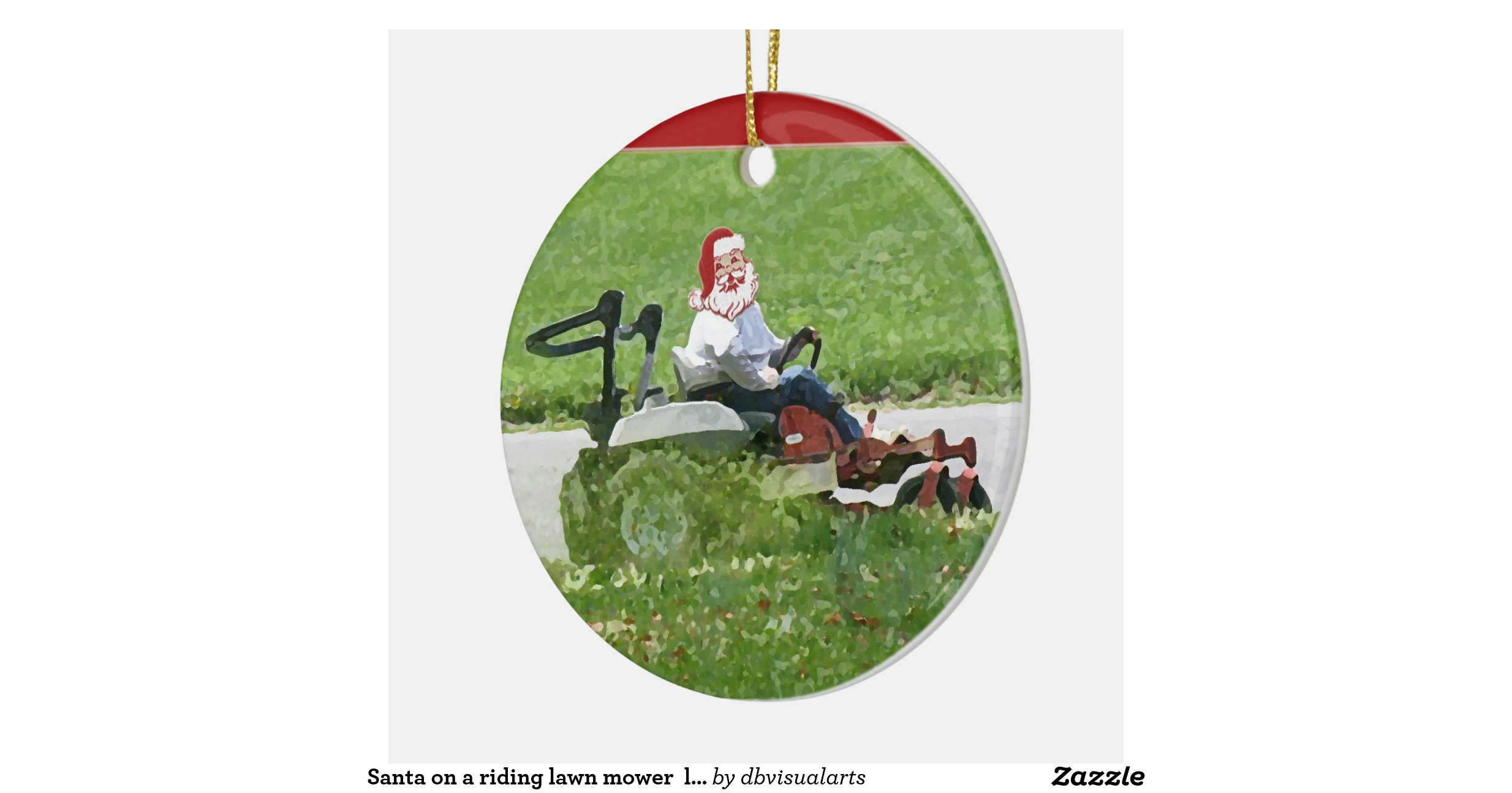 Santa On A Riding Lawn Mower Landscaper Double Sided