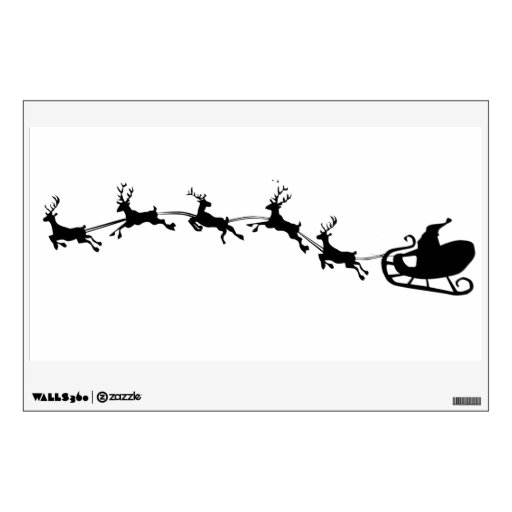 santas sleigh and reindeer silhouette wall decal | Zazzle