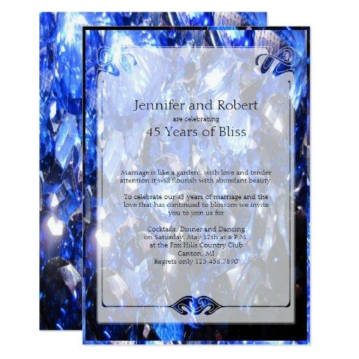 Sapphire Wedding Anniversary Gifts: Sapphire 45th Wedding Anniversary Invitation