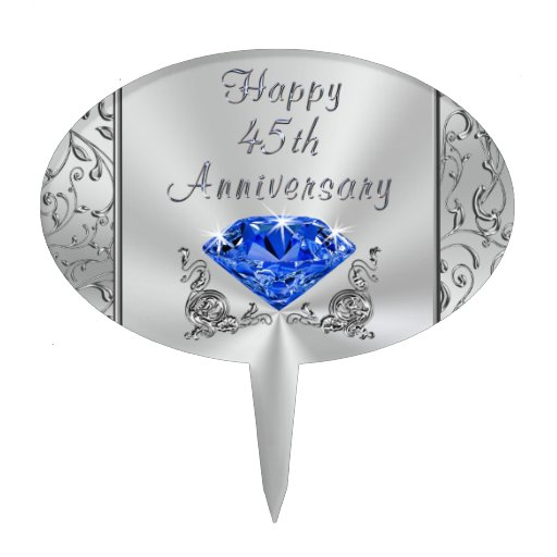 Forty Fifth Wedding Anniversary Gifts: Sapphire Happy 45th Anniversary Cake Topper Pick