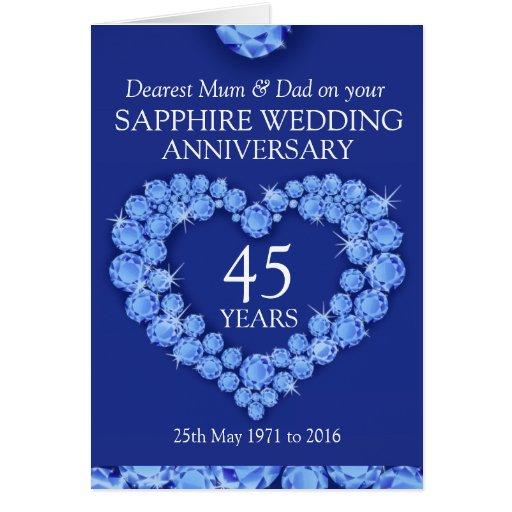Sapphire Wedding Anniversary Gifts: Sapphire Wedding Anniversary Mum And Dad Card