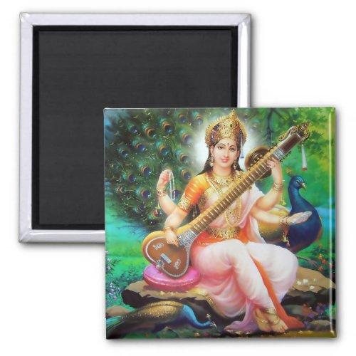 Hindu Goddess Saraswati Playing a Veena 2-inch Square Magnet