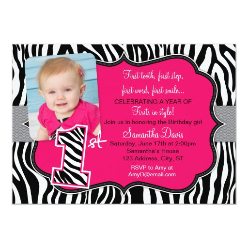 Pink Zebra Print Girls 1st Birthday Invitation: Sassy Pink Zebra Print First Birthday Invitation