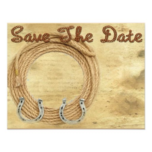 Western Wedding Invitations: Save The Date Western Wedding Invitation