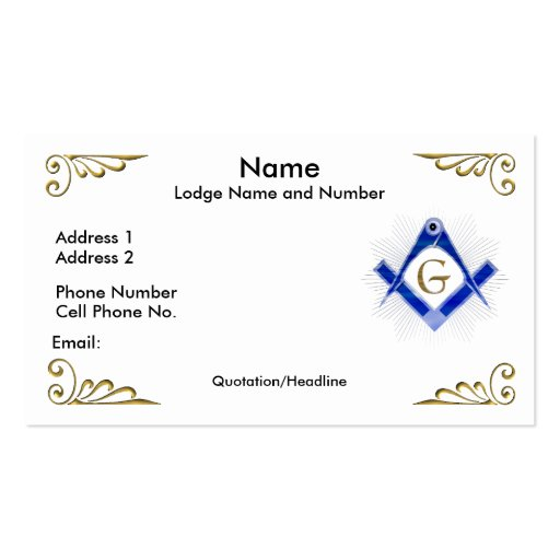 Masonic lodge Business Card Templates | BizCardStudio