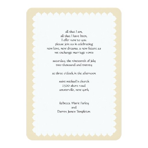 Simple 2nd Wedding Ideas: Scalloped Edge Second Marriage Wedding Invitations