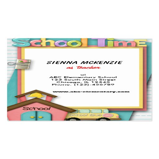 School Bus Double-Sided Standard Business Cards (Pack Of