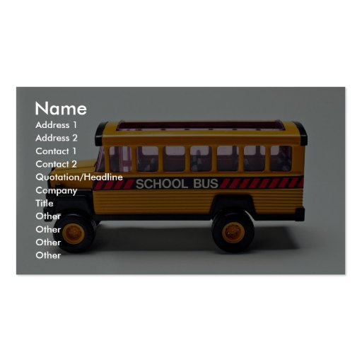 School Bus Toy For Kids Double-Sided Standard Business