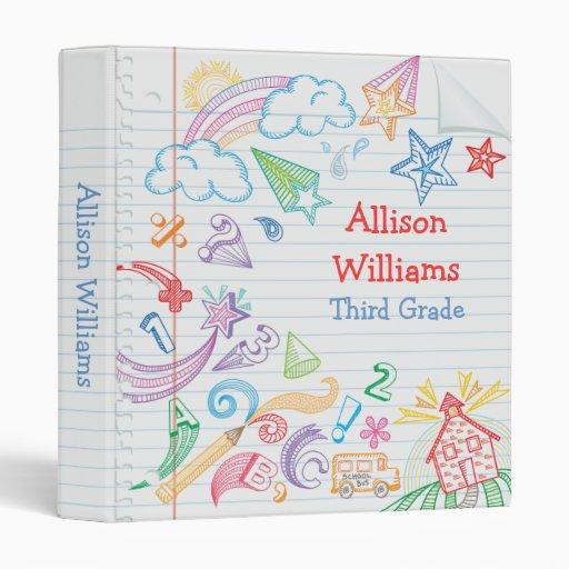 School Doodles Notebook Binder | Zazzle
