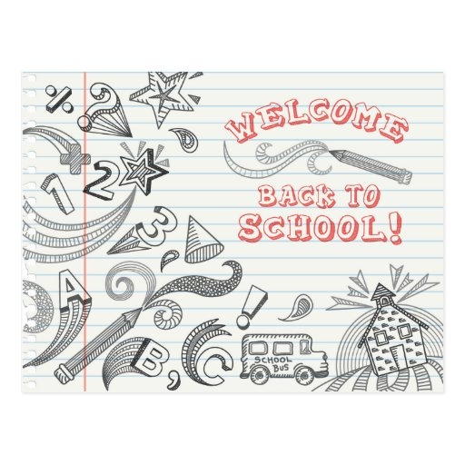 School Doodles Welcome Back To School Postcard