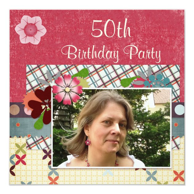 50th Hairstyle: Scrapbook Style 50th Birthday Party Add Your Photo Card