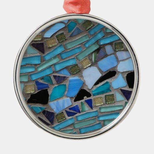 Baptism Ornament Round Glass: Sea Glass Round Metal Christmas Ornament