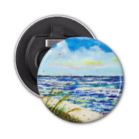 Sea Oats and Skyway Button Bottle Opener