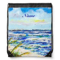 Sea Oats and Sunshine Skyway Tampa Bay Florida Drawstring Backpacks