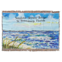 Sea Oats and Sunshine Skyway Tampa Bay Florida Throw Blanket