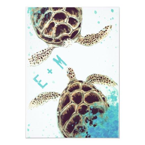 Sea Turtle Wedding Invitations: Sea Turtle Love Wedding Invitation