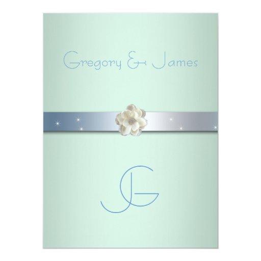 Seafoam Green Wedding Ideas: Seafoam Green And Silver, Gay Wedding Invitation
