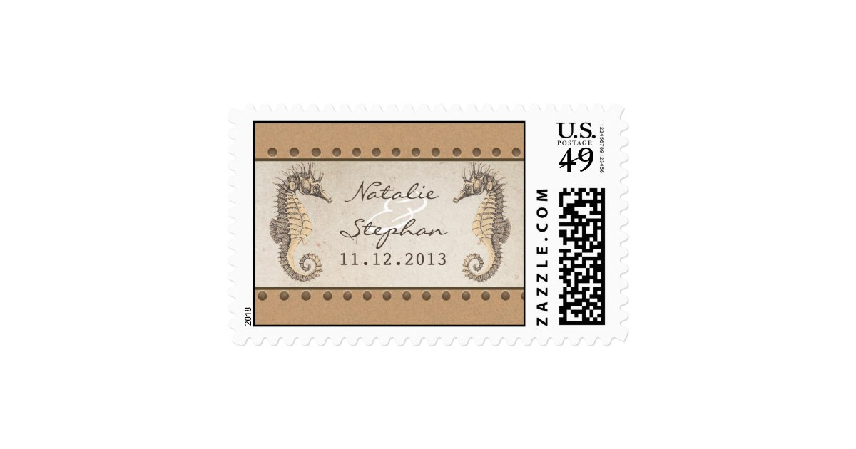 Stamps For Wedding Invitations: Seahorses Wedding Invitations Postage Stamps