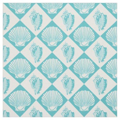Seashell Diamond Nautical Beach Blue Fabric | Zazzle