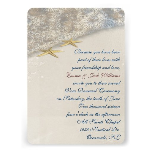 Wedding Vow Renewal Invitations: Seashore Wedding Vow Renewal Personalized Invitations