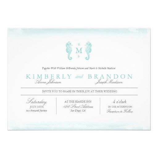 Tiffany Wedding Invitations: Seaside Monogram Wedding Invitation