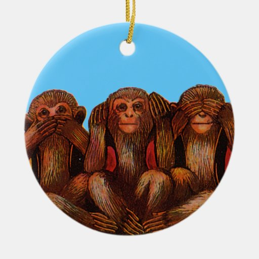 Evil Christmas Tree: See Hear And Speak No Evil Double-Sided Ceramic Round