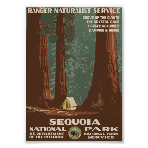 Vintage Travel Posters National Park: Sequoia National Park Vintage Travel Poster